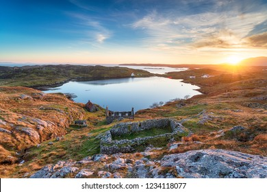 Stunning sunset over ruins at manish on the Isle of Harris in the Outer Hebrides of Scotland