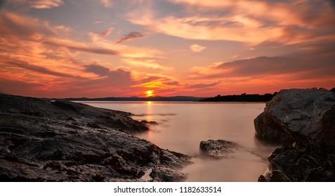 Stunning sunset from shoreline