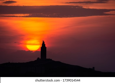 Stunning sunset at the Tower of Hercules