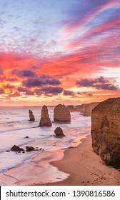 Stunning sunset at Twelve Apostles, Great Ocean Road, Victoria, Australia