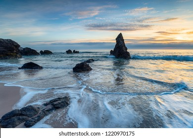Stunning surnise over sea stacks at Sango Bay in Durness in Scotland