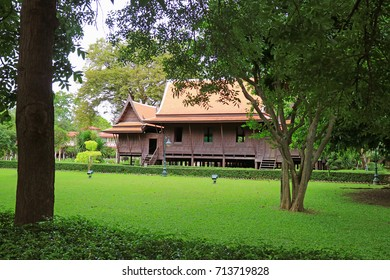 Stunning Thai style traditional vintage wooden house in Sanam Chan, Nakhon Pathom province of Thailand