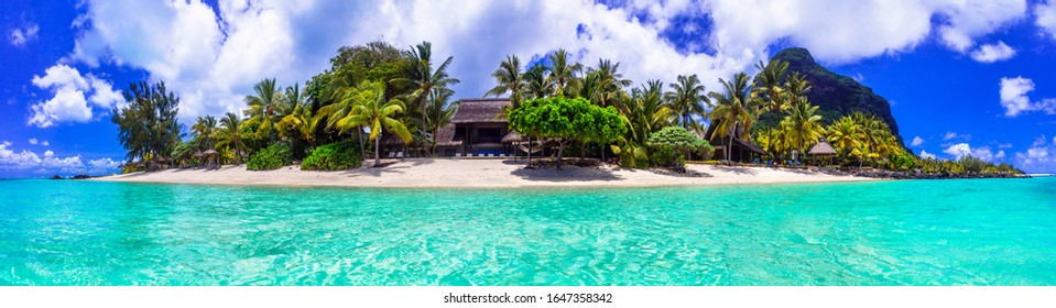 Stunning tropical beach scenery. Paradise island Mauritius, panoramic view of Le Morne mountain and beach with luxury resort