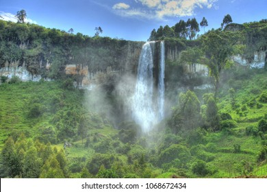 Stunning Tropical Waterfall at Sipi Falls in Uganda, Africa
