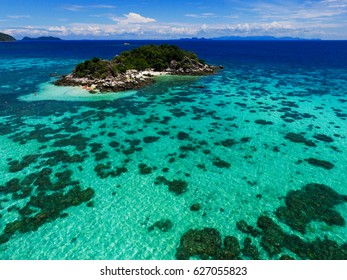 Stunning turquoise sea in Koh Lipe, Thailand. Aerial view.