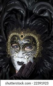 Stunning Venetian mask at the Venice Carnival