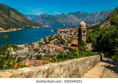 Stunning view across Kotor Bay, Montenegro, with a beautiful church in the foreground