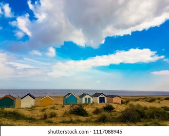 Stunning view across Southwold beach, with beach huts in the foreground
