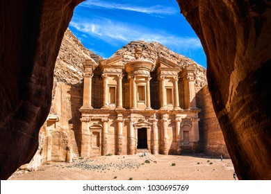 Stunning view of the Ad Deir - Monastery in the ancient city of Petra, Jordan: Incredible UNESCO World Heritage Site.