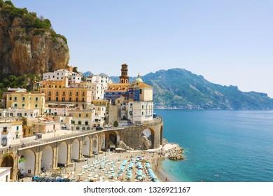 Stunning view of Atrani village, Amalfi Coast, Italy