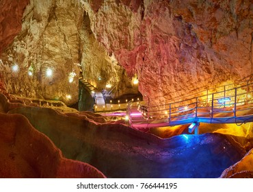 Stunning view of baths of Stopica cave in Zaltibor- Serbia.