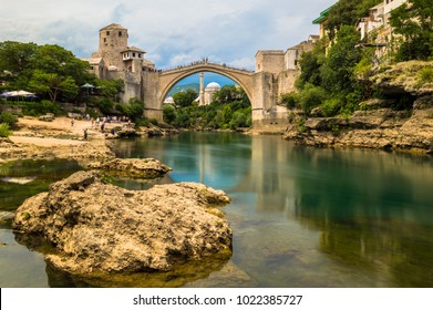 Stunning view of the beautiful Old Bridge in Mostar, Bosnia and Herzegovina