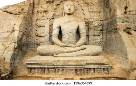 Stunning view of the beautiful Samadhi statue carved in stone. The Samadhi Statue is a statue situated at Mahamevnawa Park in Anuradhapura, Sri Lanka.
