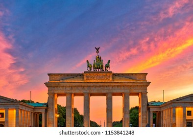 Stunning view of the Brandenburg Gate in Berlin at dusk, with colorful twilight in background, Berlin, Germany