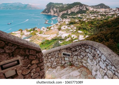 Stunning view of Capri town and the sea from the Phoenician Steps (La Scala Fenicia), Italy.