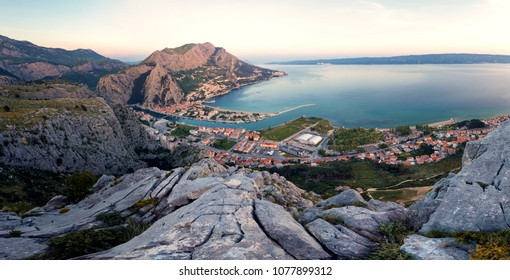 Stunning view of the city Omis in Croatia