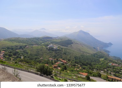 Stunning view of the coast and the mountains of Maratea from the road leading to the Statue of Christ the Redeemer of Maratea