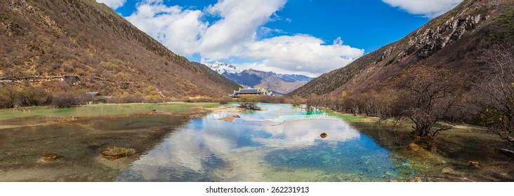 Stunning view of colorful ponds and mountains in Huanglong national Park, Sichuan Province, China
