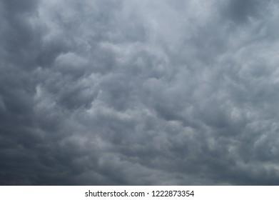 Stunning view of dark cloudy sky.