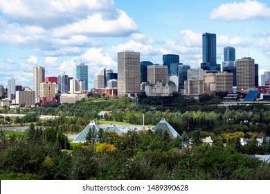 Stunning view of downtown Edmonton, Alberta, Canada. Taken on sunny summer day from a hill across the North Saskatchewan river.