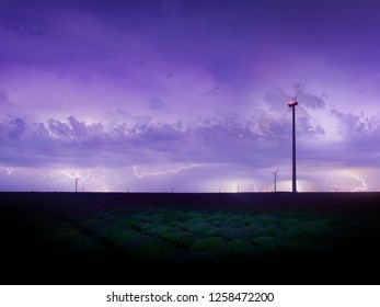 stunning view of endless lavender field under the stormy night sky, ligntnings