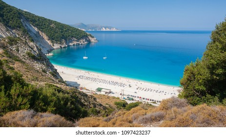 Stunning view of the famous tourist destination place azure water bay of beach of Myrtos Beach, Cephalonia, Greece