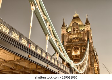 Stunning view of famous Tower Bridge in the evening - London.