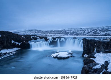 Stunning view of Godafoss Waterfall in the morning one of the landmark in Iceland