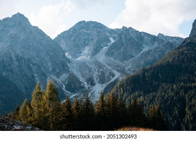 A stunning view of high forest mountains surrounding the Antholzer See in Italy on a sunny day