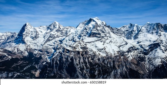 Stunning view of Jungfrau, Monch, Eiger from Schilthorn