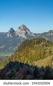 A stunning view of Kleiner Mythe and Grosser Mythe from the Fronalpstock mountain, Swirzerland