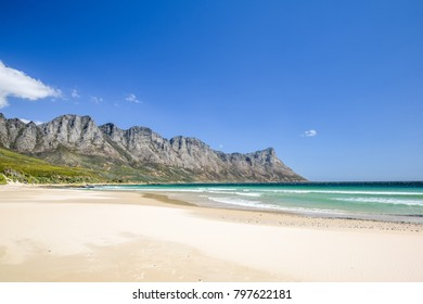 Stunning view of Kogel Bay Beach, located along Route 44 in the eastern part of False Bay near Cape Town between Gordon's Bay and Pringle Bay. Hottentots Holland Mountain range in the background.