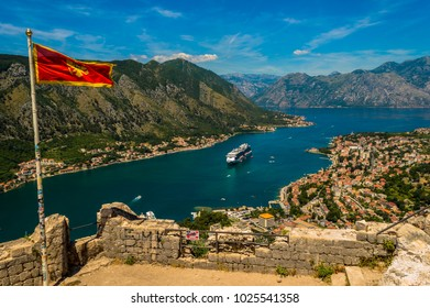 Stunning view of Kotor Bay, looking down from the top of the castle ruins