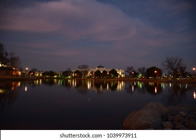 Stunning view of the lake and city lights at night, The Park At River Walk, Bakersfield, CA.