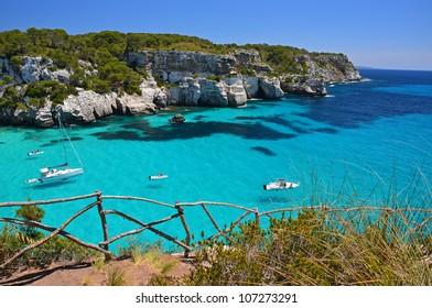 Stunning view of Macarella bay and azure sea water, Menorca, Balearic Islands, Spain