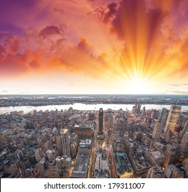 Stunning view of Manhattan skyscrapers at sunset - New York - NYC.