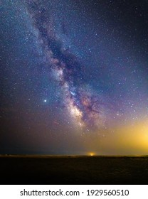 Stunning view of the milky way with star traces on a clear night sky