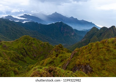 Stunning view of the mountainous terrain from the summit of the highest Indochina peak, the Fansipan Mountain, Sapa, Lao Cai, Vietnam