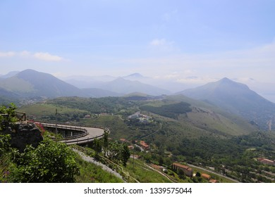 Stunning view of the mountains of Maratea from the road leading to the Statue of Christ the Redeemer of Maratea