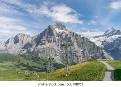 Stunning view of Mt. Grindelwald in Switzerland, scenic panoramic shot of ski lifts and cable cars up the rolling green hills of the Swiss alps