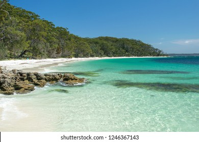 Stunning view of Murrays Beach, located within Booderee National Park in Jervis Bay Territory, a three hours drive south of Sydney, New South Wales, Australia. Beautiful rocks, crystal clear water.