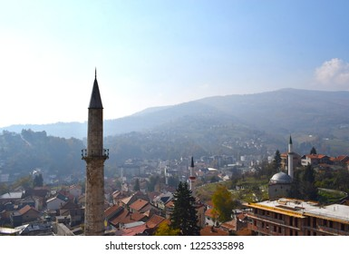 stunning view on minaret and Travnik city on beautiful weather,sunny and foggy at same time,from ancient fortress. Autumn in Bosnia and Herzegovina