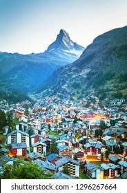 Stunning view on mountain Matterhorn at morning and Zermatt city, Valais region, Switzerland, Europe