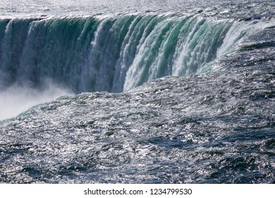 Stunning view on the Niagara Falls waters, close-up.