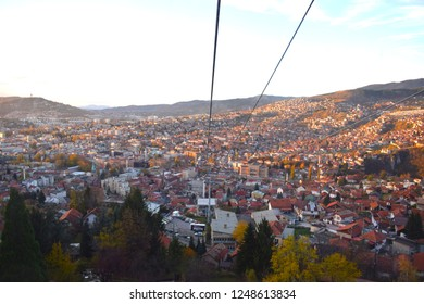 Stunning view on Sarajevo from Trebevic cable car in sunset time
