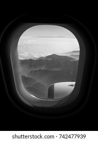 Stunning view over the Alps from inside of the plane