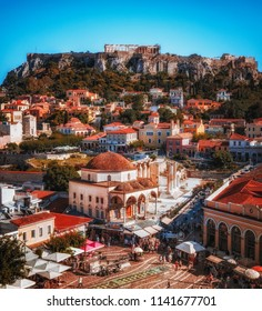 Stunning view over Athens with Monastiraki square and Acropolis hill, Athens Greece on a summer beautiful day.