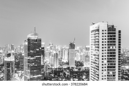 Stunning view over Jakarta business district in Indonesia capital at night. The area around Plaza Indonesia contains a lot of bank HQ and luxury hotels and shopping malls. Converted in black & white.