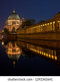 A stunning view over the Spree River in Berlin, taking in the sights of the Berliner Dom and the columns of the Altes Museum.