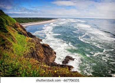 A stunning view of the pacific northwest coastline looking south from Cape Disappointment state park in Washington, USA.